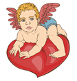 Cupid baby heart color vector image vector image
