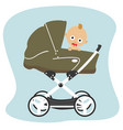 cute baby peeks out from stroller pram vector image