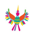Cute bird flying mexican decoration