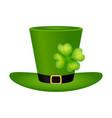 cylinder hat leprechaun with clover leaf for st vector image