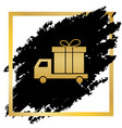 delivery gift sign golden icon at black vector image vector image