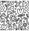 doodle funny flowers characters simple black vector image vector image
