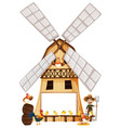 farmer and chickens on windmill vector image vector image