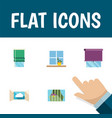 flat icon window set of curtain cloud flowerpot vector image vector image