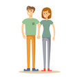 full portrait of happy couple isolated on white vector image vector image