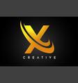 golden letter x logo x letter design with golden vector image
