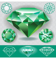 Green diamond emerald gemstone vector image vector image