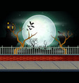 halloween background with full moon background vector image