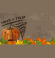 halloween card with jack-o-lantern banner vector image