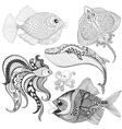 Hand drawn zentangle Fishes Whale Octopus vector image