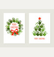handprint christmas tree with red star handprint vector image vector image