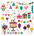 happy birthday party elements set - holiday vector image