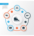 industry icons set collection of stair tractor vector image vector image