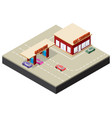 isometric gas station with cars gasoline pump vector image