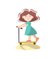 little cute girl on scooter cartoon vector image