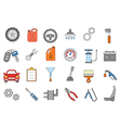 Mechanic colorful icons set vector image vector image