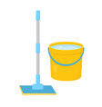 mop with bucket water isolated on white vector image vector image