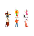 musicians and singers playing music on stage vector image vector image