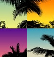 palm tree set with twilight sky vector image vector image