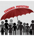 peple consumer family under the umbrella customer vector image vector image