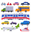 public transport taxi car vehicle city train and vector image