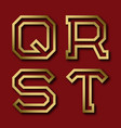 q r s t gold angular letters with shadow vector image