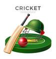 realistic cricket bat stick betting promo vector image vector image