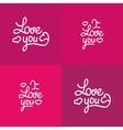 set love you lettering valentine design vector image vector image