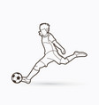 soccer player shooting a ball action outline vector image vector image