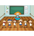 Teacher and students in dancing class vector image vector image