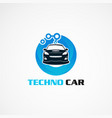 techno car with blue circle logo icon element vector image