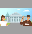 tourist traveling in usa couple or friends stand vector image