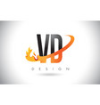 vd v d letter logo with fire flames design and vector image vector image