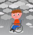 very sad boy in wheelchair vector image vector image