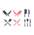 vintage kitchen set set meat cutting knife vector image vector image