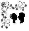 wedding silhouette with flourishes vector image vector image