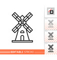 windmill mill farm simple thin line icon vector image