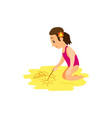 woman in swimsuit drawing stick on beach vector image vector image