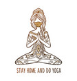 yoga girl in a medical mask stay home and do vector image