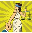 follow me Themis leads to court vector image