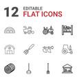 12 farming icons vector image vector image