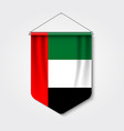 3d realistic pennant with flag united arab emirate