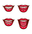 a collection of pop art icons of red female lips vector image vector image