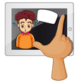 A hand touching a gadget with a man thinking vector image vector image