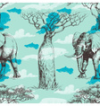 African pattern baobab tree and elephant summer vector image vector image