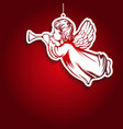 angel flies and plays the trumpet decoration vector image vector image