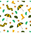 autumn seamless pattern rainy season vector image vector image