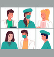 avatars characters doctors and nurses set medical vector image vector image