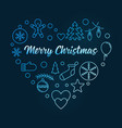 blue heart of xmas outline icons christmas vector image