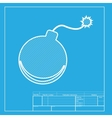 bomb sign white section icon on vector image vector image